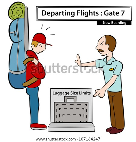 An image of a airport attendant stopping man with oversized luggage. - stock photo