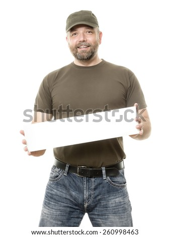An image of a bearded man holding a white board - stock photo