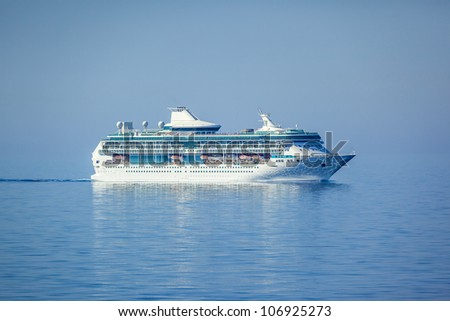 An image of a beautiful cruise ship - stock photo