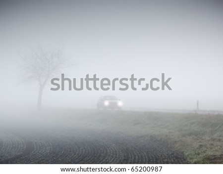 An image of a beautiful landscape with fog in bavaria germany - stock photo