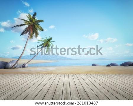 An image of a beautiful palm tree beach - stock photo