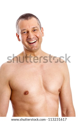 An image of a body of a middle age man - stock photo