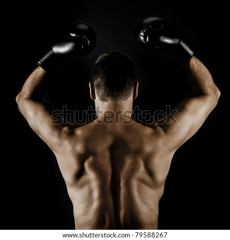 An image of a boxer in a winner pose - stock photo