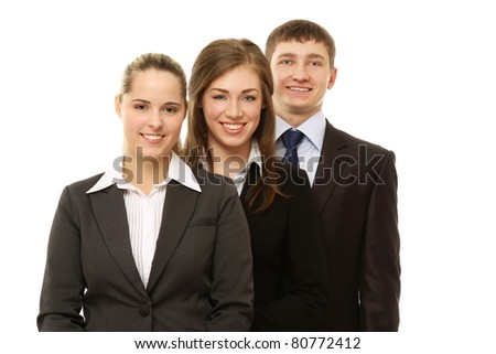 An image of a business people standing to each other - isolated on white background - stock photo