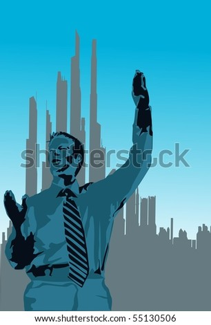 An image of a businessman who is showing the sign of success. - stock photo