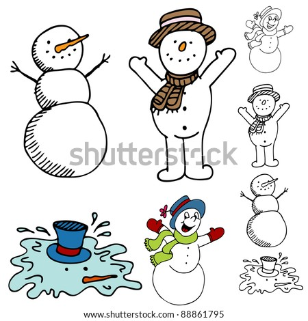 An image of a cartoon snowman set. - stock photo