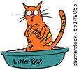 An image of a cat embarassed using the litterbox. - stock photo