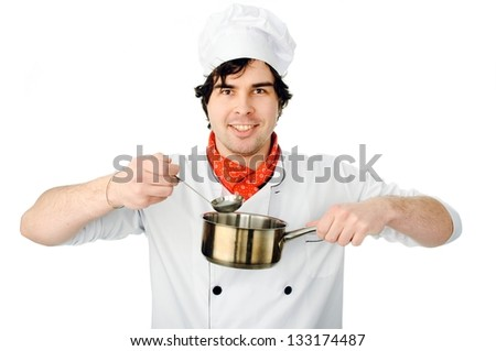 An image of a chef with a pan and - stock photo