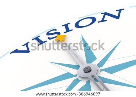 An image of a compass with the word vision - stock photo