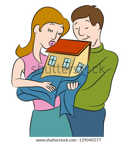 An image of a couple holding their new home. - stock photo