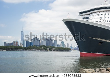 An image of a cruising ship New York - stock photo