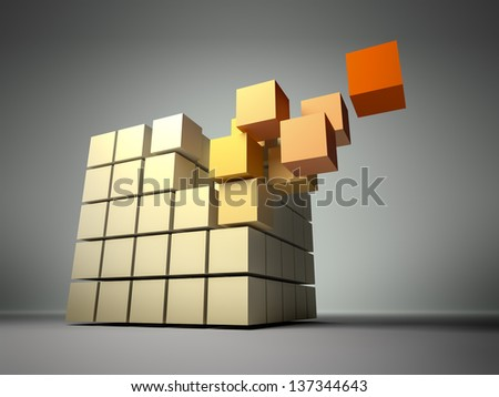 An image of a cube of many cubes - stock photo
