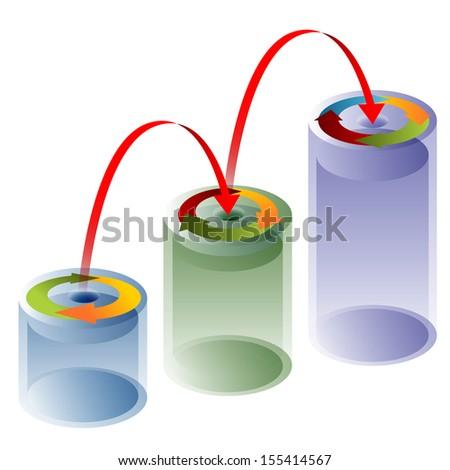An image of a 3d process arrow tube chart. - stock photo