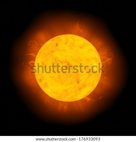 An image of a detailed sun in space - stock photo