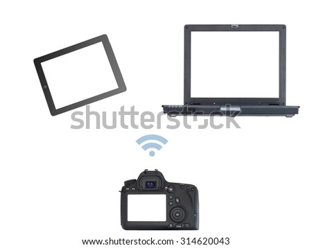 An image of a digital slr camera transferring images - stock photo
