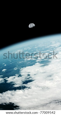 An image of a earth view and the moon - stock photo