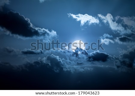An image of a full moon night - stock photo