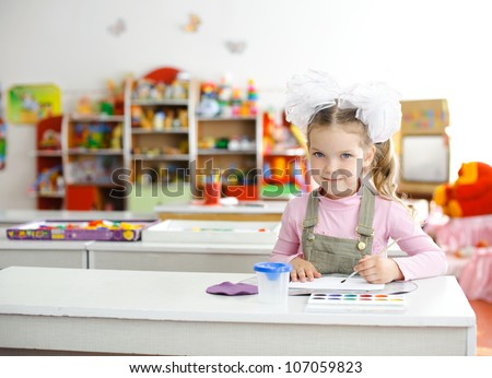 An image of a girl in the kindergarten - stock photo