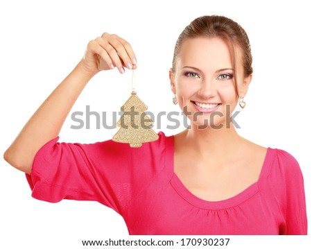 An image of a girl with a toy-tree, isolated on white background - stock photo