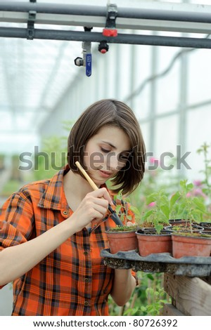 An image of a girl working in a greenhouse - stock photo
