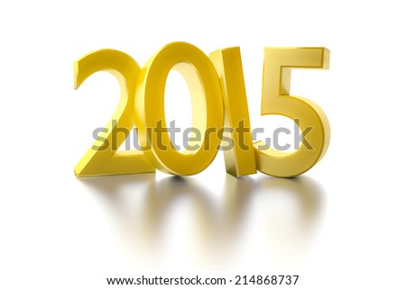 An image of a golden number 2015 - stock photo