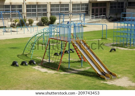 An Image of A Green Schoolyard - stock photo