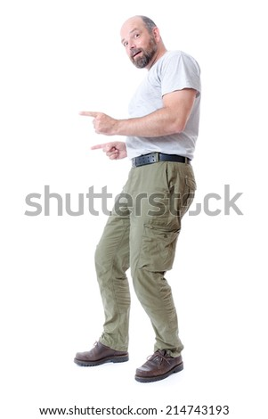 An image of a handsome man pointing to something - stock photo