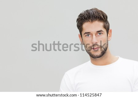 An image of a handsome young male portrait with space for your content - stock photo