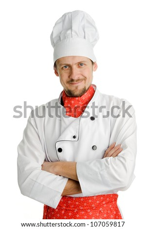 An image of a happy cheerful young chef - stock photo