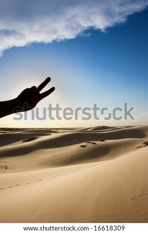An image of a man's silhouetted hand holding a peace sign - stock photo