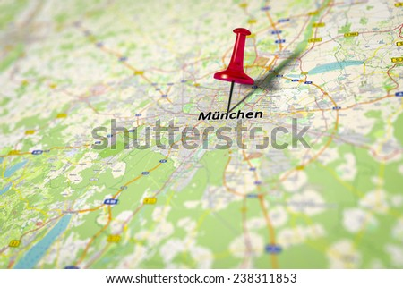 An image of a map shows Munich in Germany - source from openstreetmap.de - stock photo