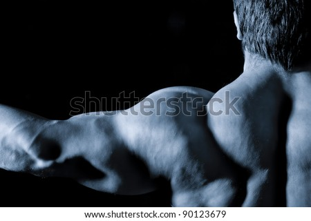 An image of a muscular sports man back - stock photo
