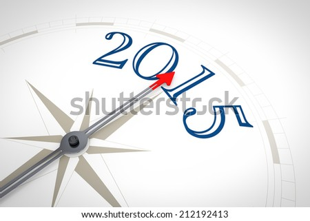 An image of a nice blue compass with the word 2015 - stock photo