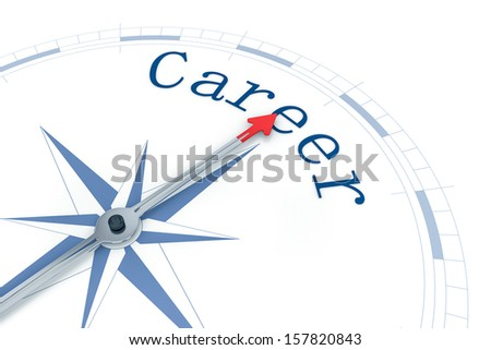 An image of a nice blue compass with the word Career - stock photo