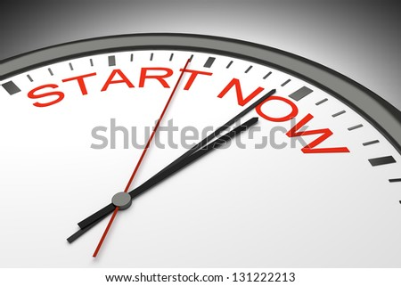 An image of a nice clock with start now - stock photo