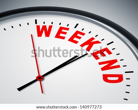 An image of a nice clock with weekend - stock photo