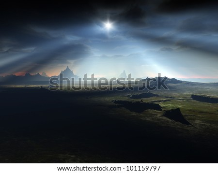 An image of a nice dark fantasy landscape - stock photo