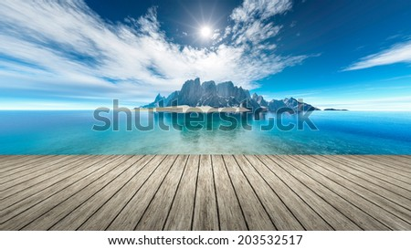 An image of a nice fantasy island - stock photo