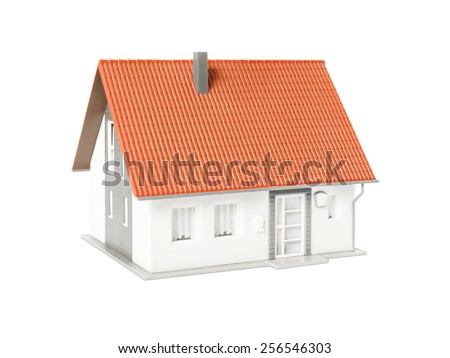 An image of a nice model house isolated on a white background - stock photo