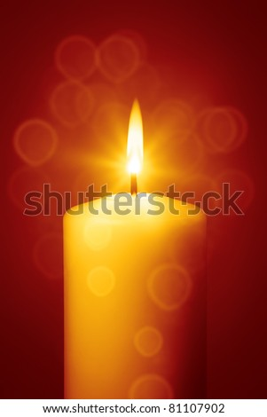 An image of a nice red christmas candle - stock photo