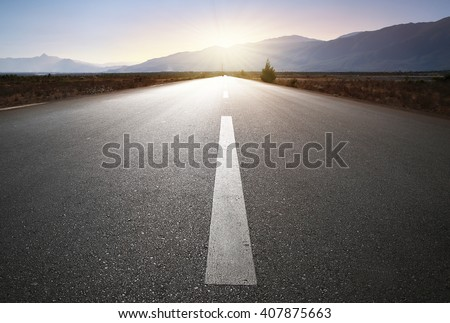 An image of a nice road to the sun - stock photo