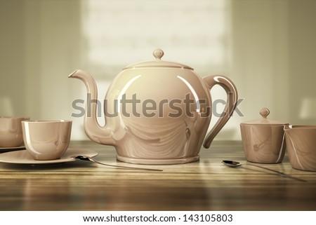 An image of a nice teapot and teacups - stock photo