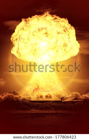 An image of a nuclear bomb explosion - stock photo