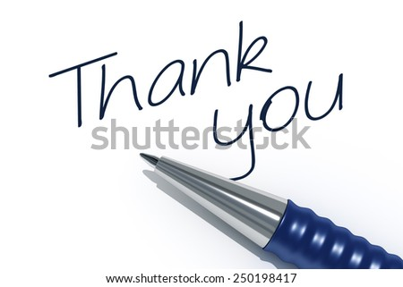An image of a pen with the message thank you - stock photo