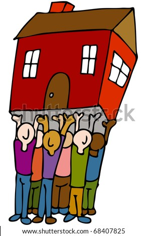 An image of a people lifting a house. - stock photo