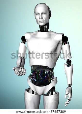An image of a robot man showing he is welcoming you by gesturing with his hand. - stock photo