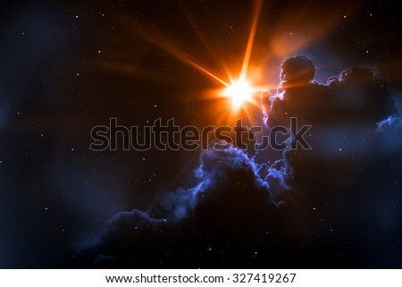 An image of a strange sun in space - stock photo