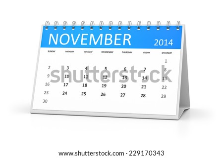An image of a table calendar for your events November 2014 - stock photo