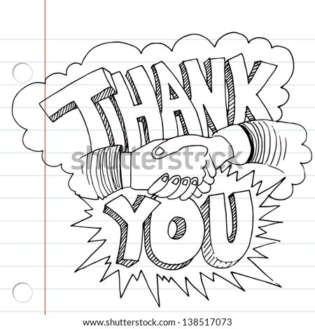 An image of a thank you handshake drawing. - stock photo