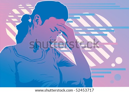 An image of a woman holding her head as though she is suffering from a headache - stock photo